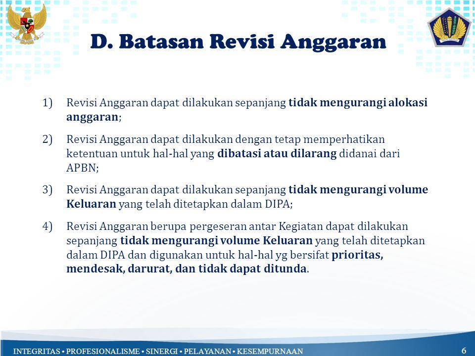D. Batasan Revisi Anggaran