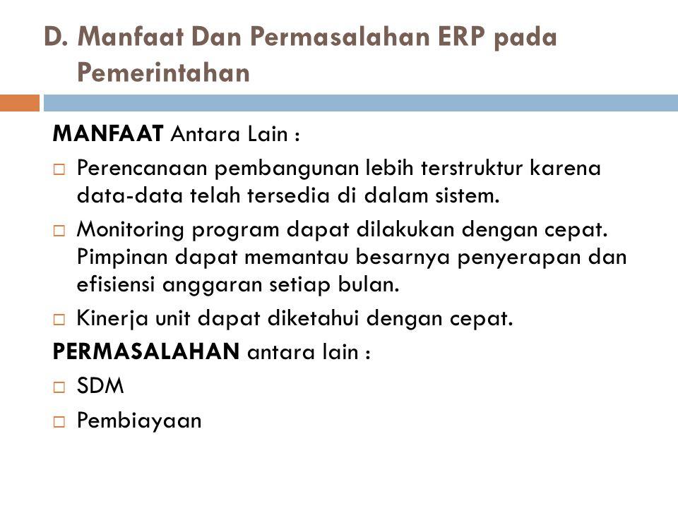 D. Manfaat Dan Permasalahan ERP pada Pemerintahan