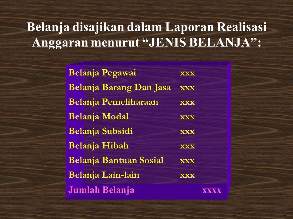 Belanja disajikan dalam Laporan Realisasi Anggaran menurut JENIS BELANJA :