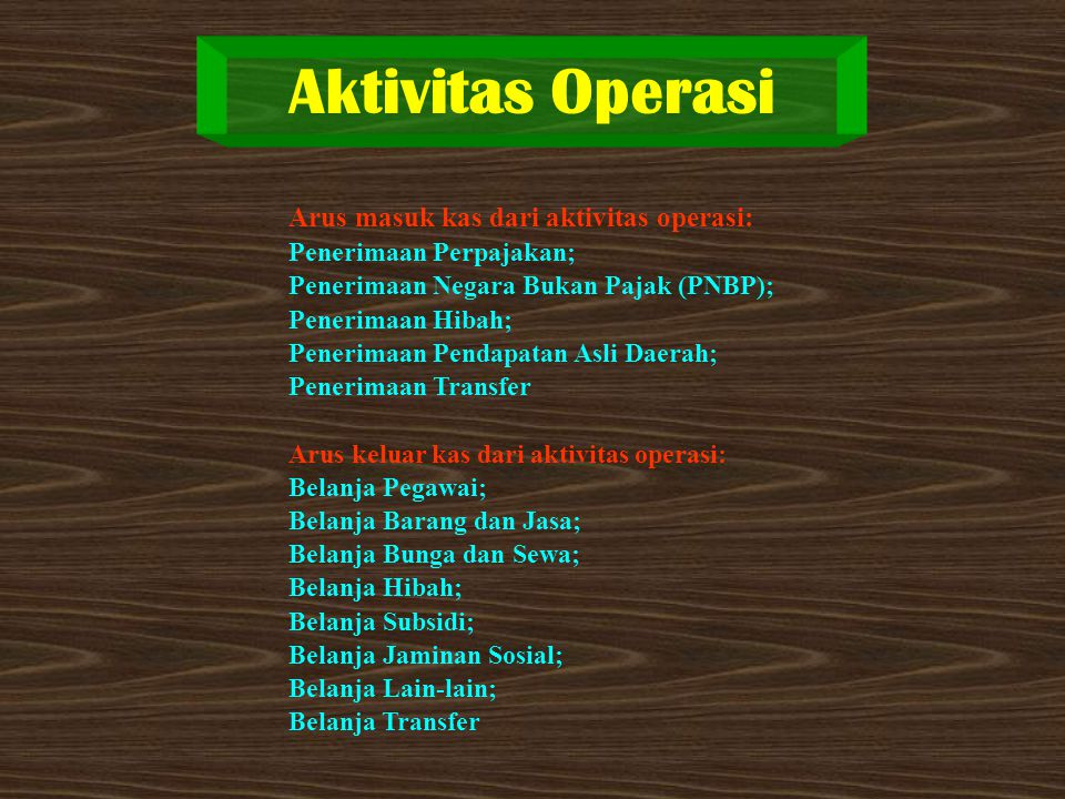 Aktivitas Operasi Arus masuk kas dari aktivitas operasi: