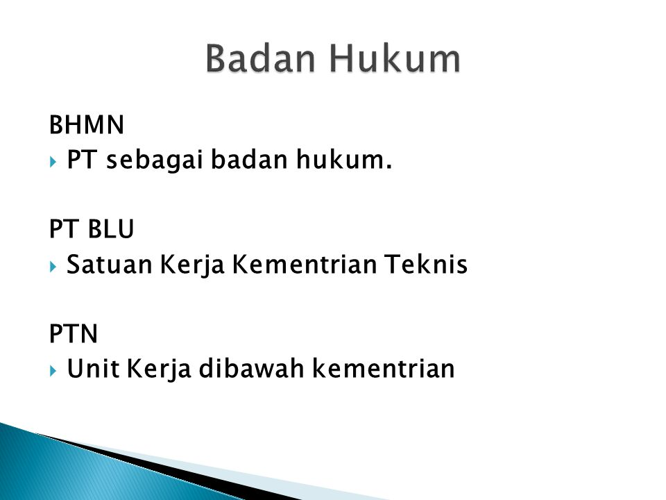 Badan Hukum BHMN PT sebagai badan hukum. PT BLU