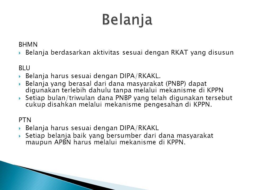Belanja BHMN. Belanja berdasarkan aktivitas sesuai dengan RKAT yang disusun. BLU. Belanja harus sesuai dengan DIPA/RKAKL.