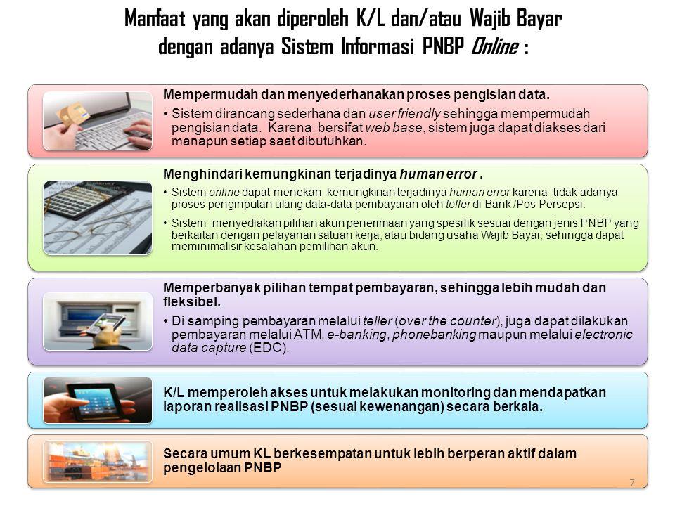 Manfaat yang akan diperoleh K/L dan/atau Wajib Bayar dengan adanya Sistem Informasi PNBP Online :