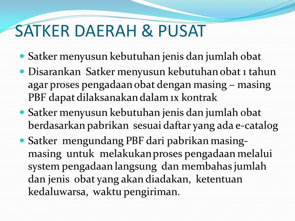 SATKER DAERAH & PUSAT Satker menyusun kebutuhan jenis dan jumlah obat