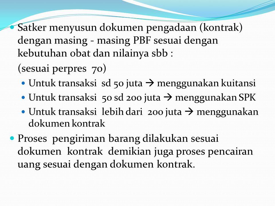 Satker menyusun dokumen pengadaan (kontrak) dengan masing - masing PBF sesuai dengan kebutuhan obat dan nilainya sbb :