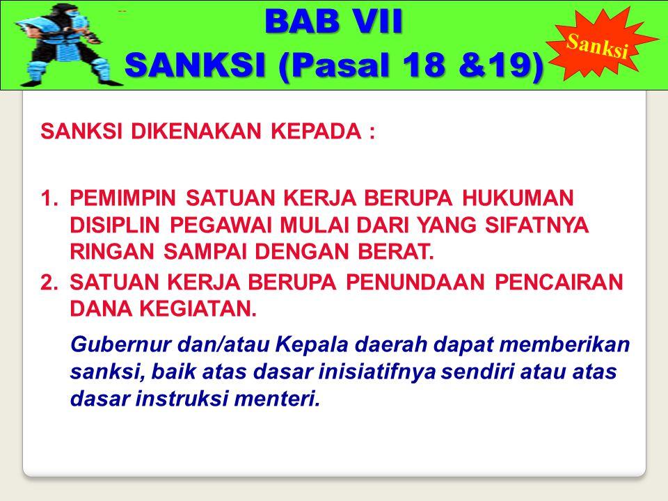 BAB VII SANKSI (Pasal 18 &19)