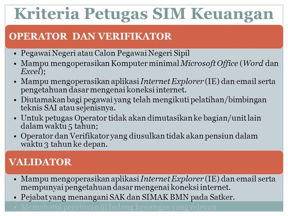 Kriteria Petugas SIM Keuangan