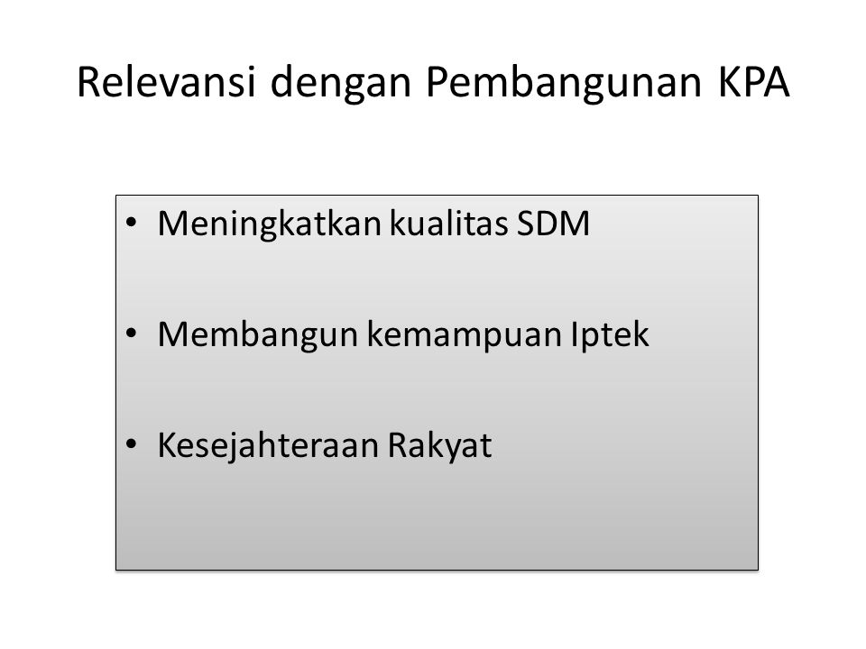 Relevansi dengan Pembangunan KPA