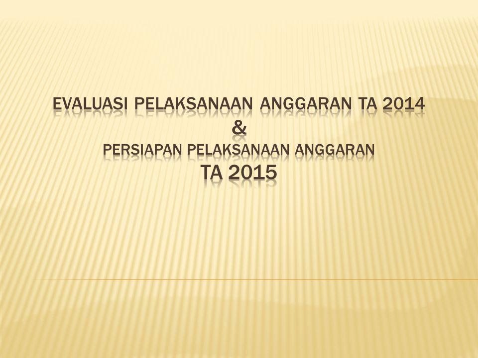 EVALUASI PELAKSANAAN ANGGARAN TA 2014 & PERSIAPAN PELAKSANAAN ANGGARAN TA 2015