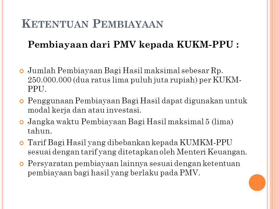 Ketentuan Pembiayaan Pembiayaan dari PMV kepada KUKM-PPU :
