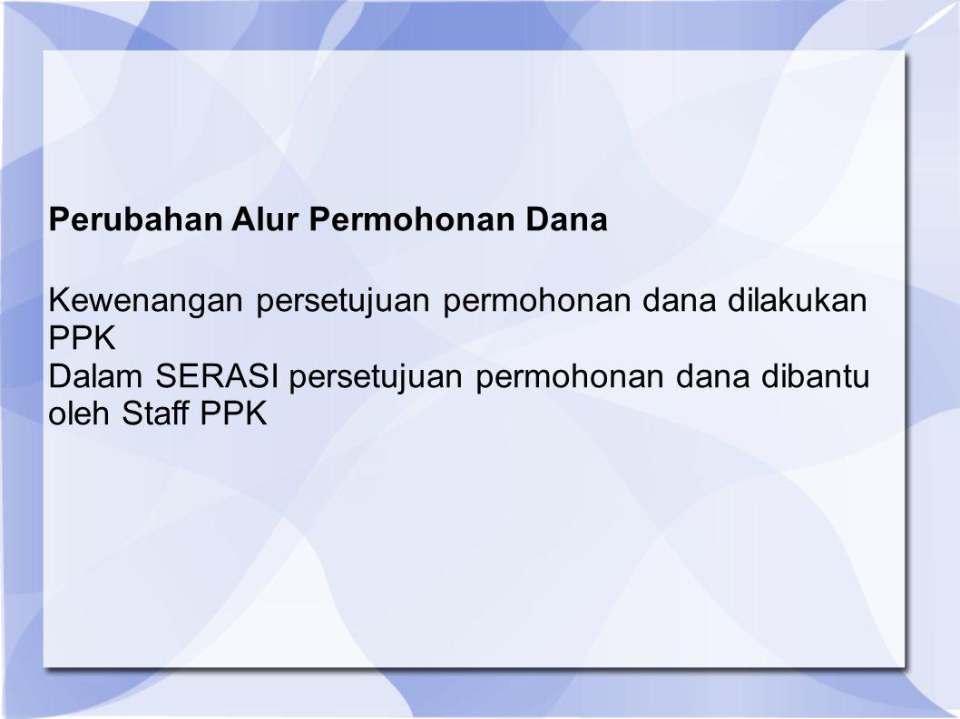 Perubahan Alur Permohonan Dana Kewenangan persetujuan permohonan dana dilakukan PPK Dalam SERASI persetujuan permohonan dana dibantu oleh Staff PPK