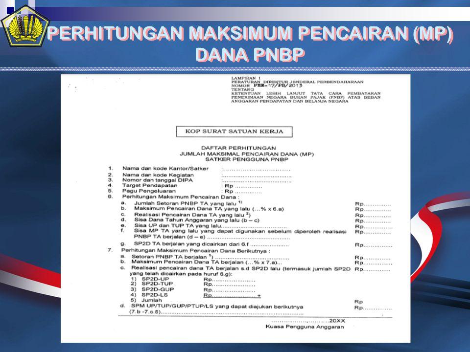 PERHITUNGAN MAKSIMUM PENCAIRAN (MP) DANA PNBP