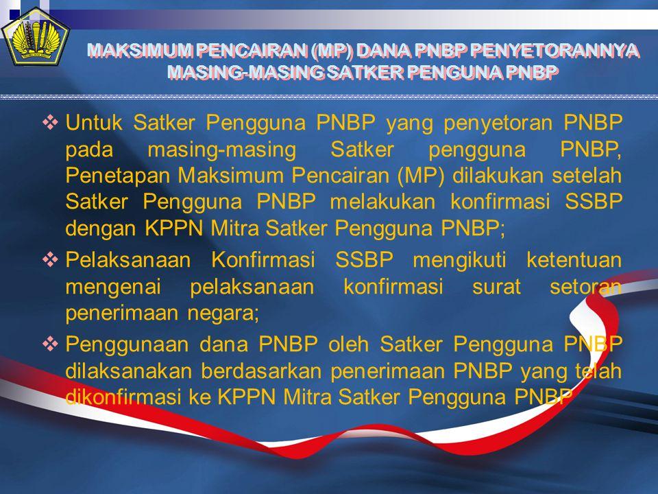MAKSIMUM PENCAIRAN (MP) DANA PNBP PENYETORANNYA MASING-MASING SATKER PENGUNA PNBP