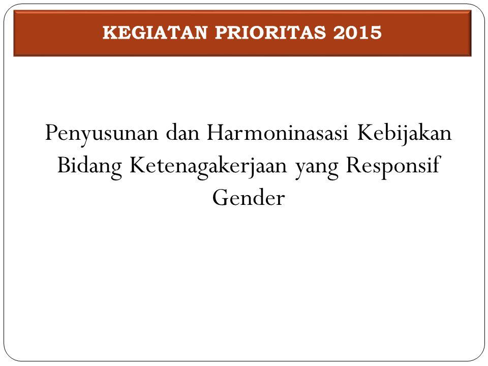 KEGIATAN PRIORITAS 2015 Penyusunan dan Harmoninasasi Kebijakan Bidang Ketenagakerjaan yang Responsif Gender.