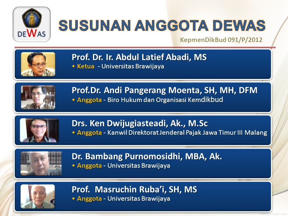 SUSUNAN ANGGOTA DEWAS Prof. Dr. Ir. Abdul Latief Abadi, MS