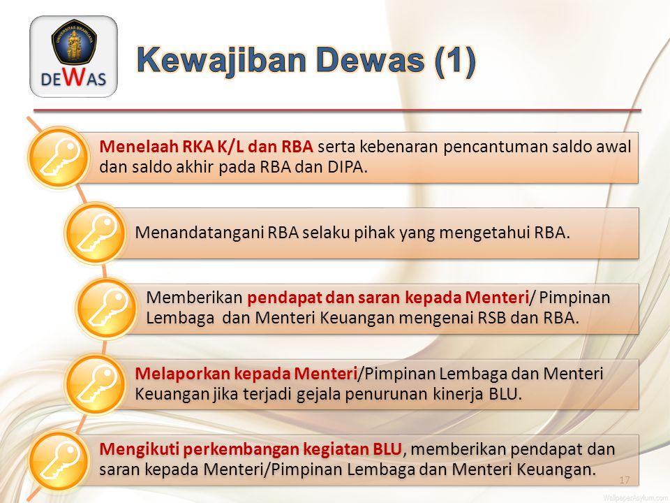 Kewajiban Dewas (1) Menelaah RKA K/L dan RBA serta kebenaran pencantuman saldo awal dan saldo akhir pada RBA dan DIPA.