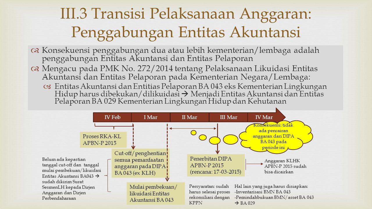 III.3 Transisi Pelaksanaan Anggaran: Penggabungan Entitas Akuntansi