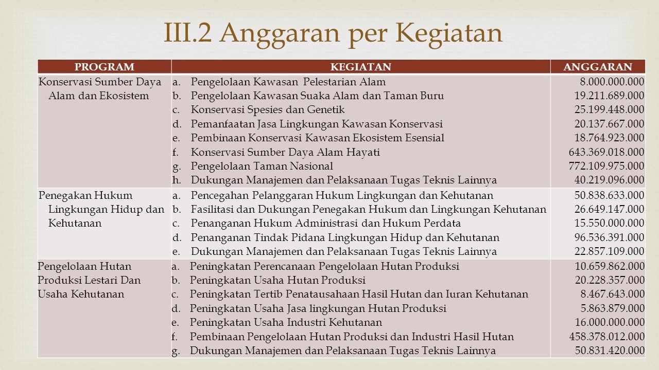 III.2 Anggaran per Kegiatan