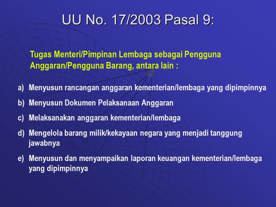 UU No. 17/2003 Pasal 9: Tugas Menteri/Pimpinan Lembaga sebagai Pengguna Anggaran/Pengguna Barang, antara lain :