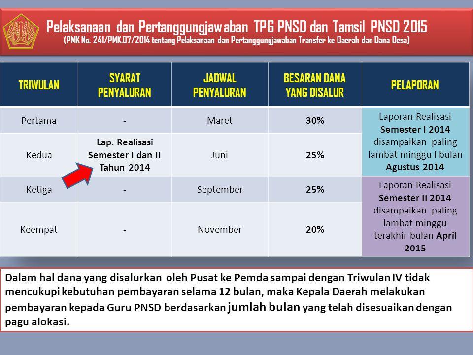 Pelaksanaan dan Pertanggungjawaban TPG PNSD dan Tamsil PNSD 2015