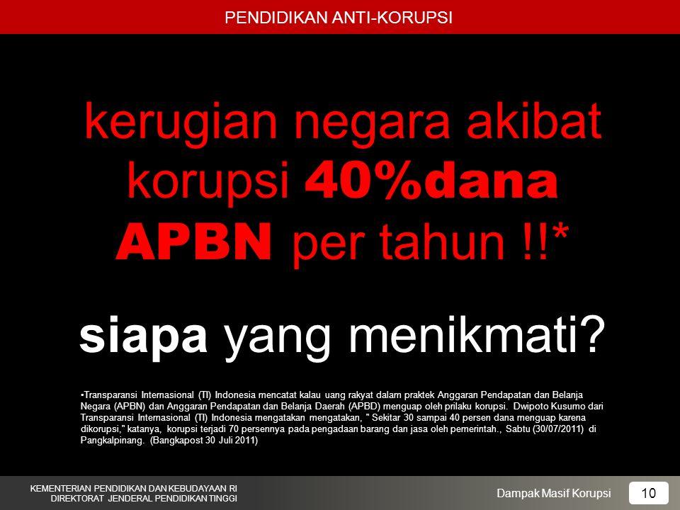 kerugian negara akibat korupsi 40%dana APBN per tahun !!*