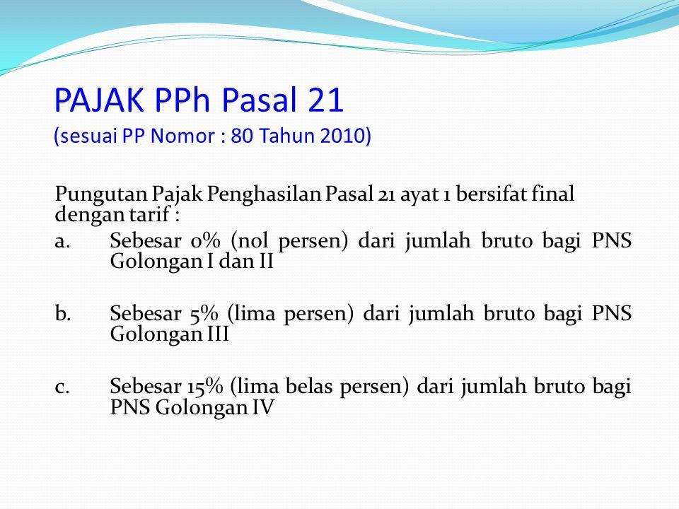 PAJAK PPh Pasal 21 (sesuai PP Nomor : 80 Tahun 2010)
