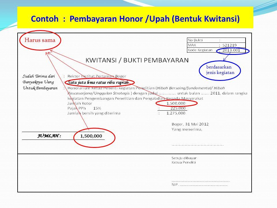 Contoh : Pembayaran Honor /Upah (Bentuk Kwitansi)