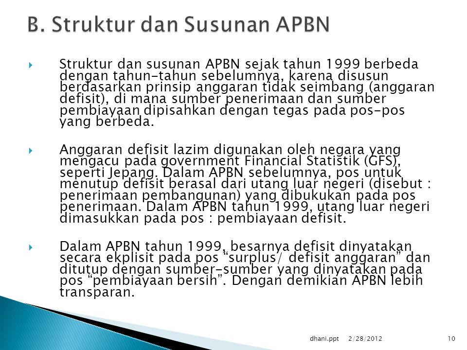 B. Struktur dan Susunan APBN