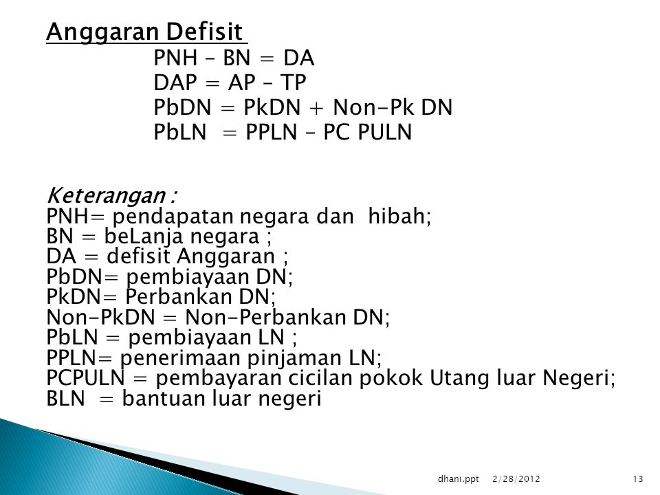 Anggaran Defisit PNH – BN = DA DAP = AP – TP PbDN = PkDN + Non-Pk DN