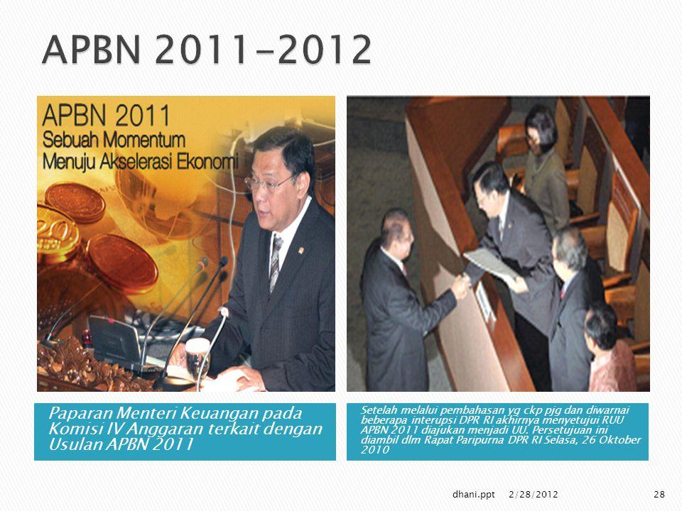 APBN 2011-2012 Paparan Menteri Keuangan pada Komisi IV Anggaran terkait dengan Usulan APBN 2011.