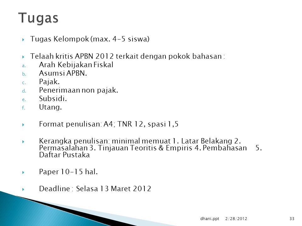 Tugas Tugas Kelompok (max. 4-5 siswa)