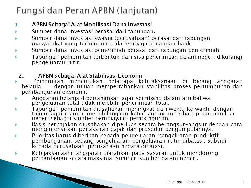 Fungsi dan Peran APBN (lanjutan)