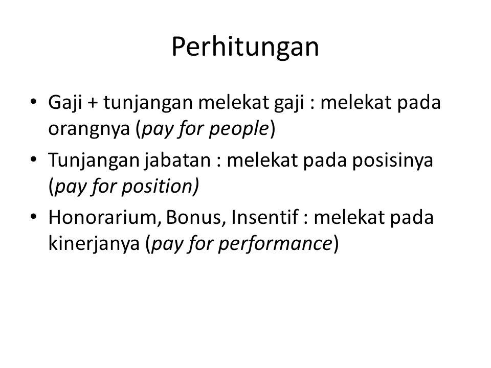 Perhitungan Gaji + tunjangan melekat gaji : melekat pada orangnya (pay for people) Tunjangan jabatan : melekat pada posisinya (pay for position)