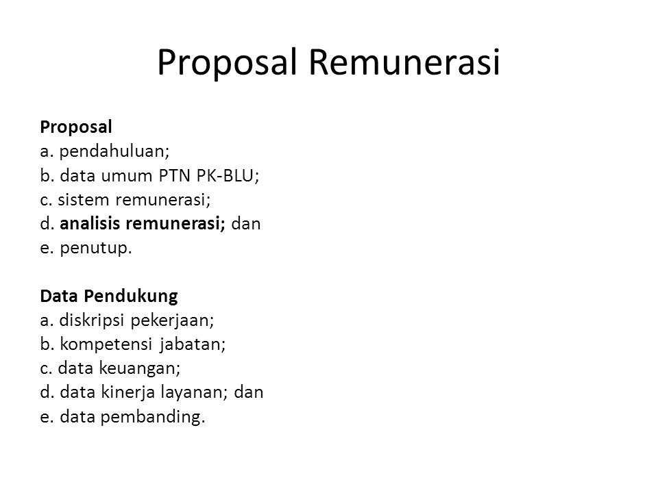 Proposal Remunerasi