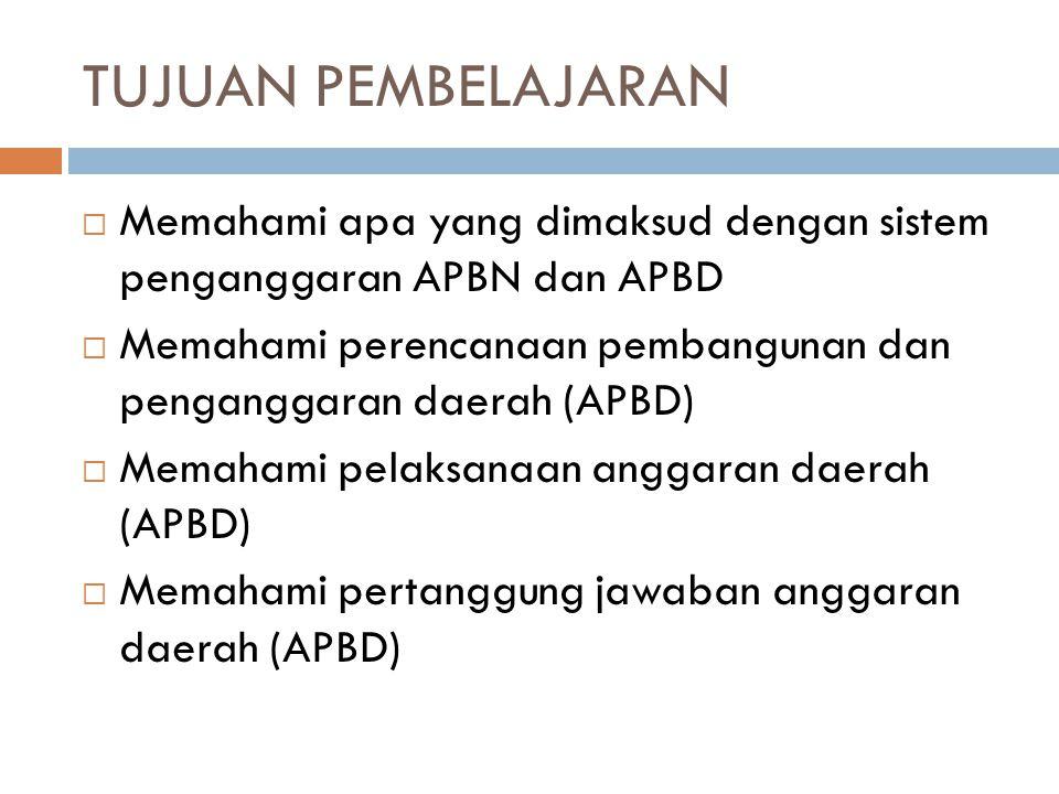 TUJUAN PEMBELAJARAN Memahami apa yang dimaksud dengan sistem penganggaran APBN dan APBD.
