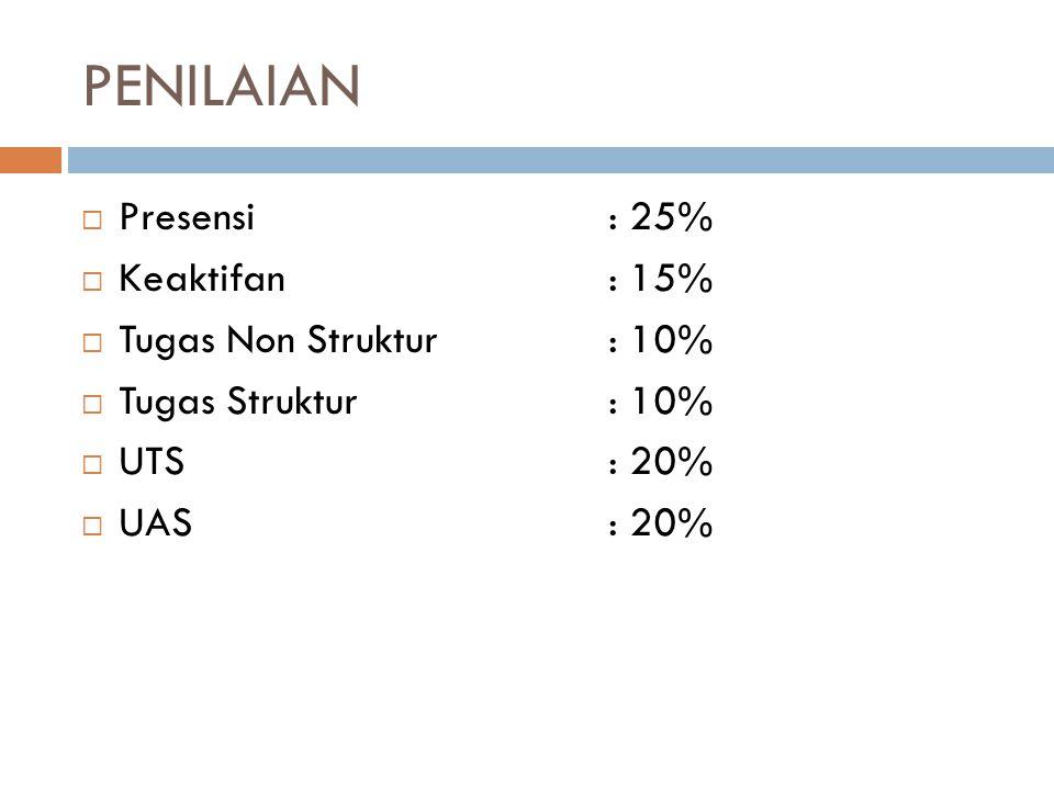 PENILAIAN Presensi : 25% Keaktifan : 15% Tugas Non Struktur : 10%