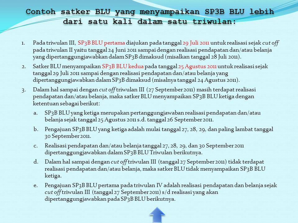Contoh satker BLU yang menyampaikan SP3B BLU lebih dari satu kali dalam satu triwulan: