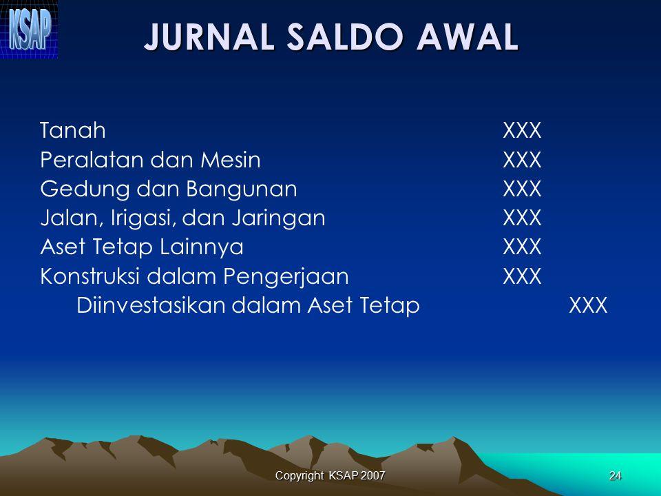 JURNAL SALDO AWAL Tanah XXX Peralatan dan Mesin XXX