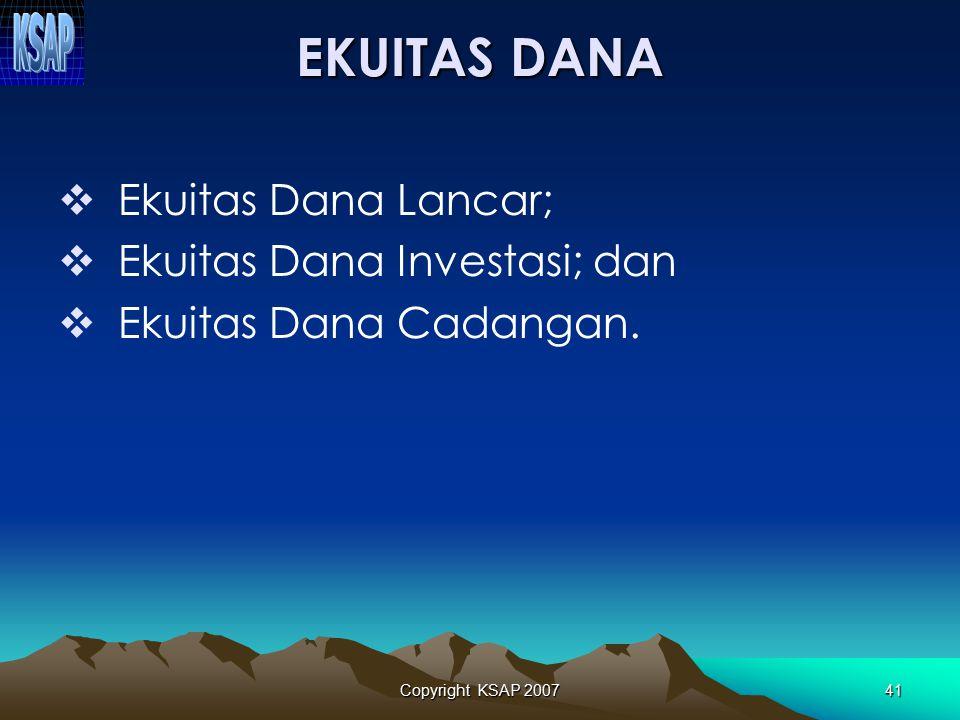 EKUITAS DANA Ekuitas Dana Lancar; Ekuitas Dana Investasi; dan