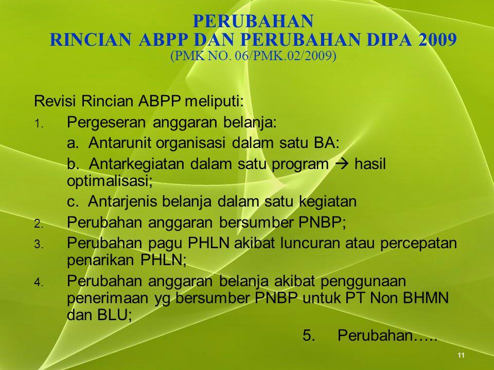 PERUBAHAN RINCIAN ABPP DAN PERUBAHAN DIPA 2009 (PMK NO. 06/PMK