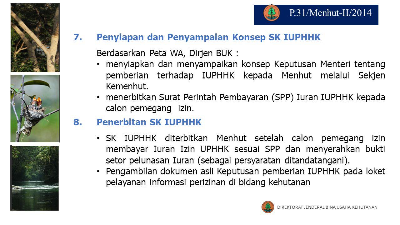 P.31/Menhut-II/2014 7. Penyiapan dan Penyampaian Konsep SK IUPHHK
