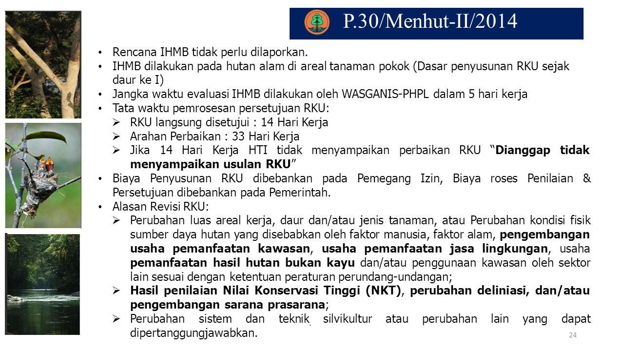 P.30/Menhut-II/2014 Rencana IHMB tidak perlu dilaporkan.