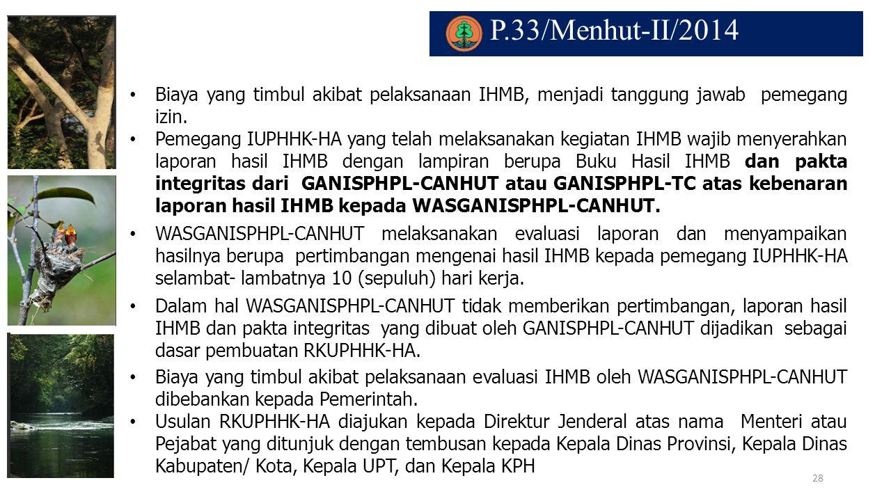 P.33/Menhut-II/2014 Biaya yang timbul akibat pelaksanaan IHMB, menjadi tanggung jawab pemegang izin.