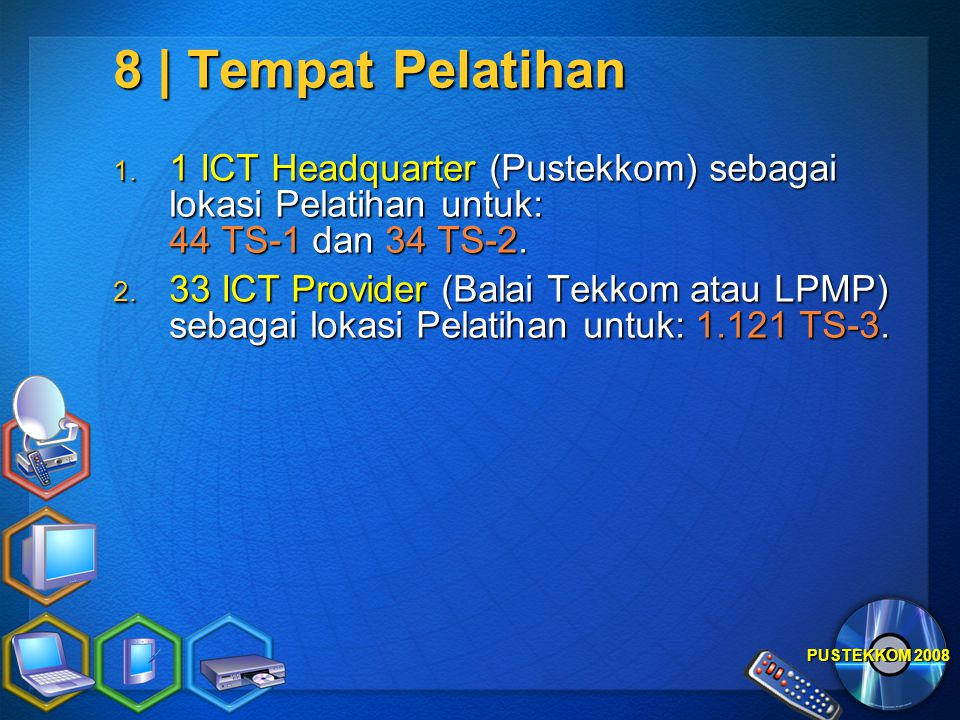 8 | Tempat Pelatihan 1 ICT Headquarter (Pustekkom) sebagai lokasi Pelatihan untuk: 44 TS-1 dan 34 TS-2.