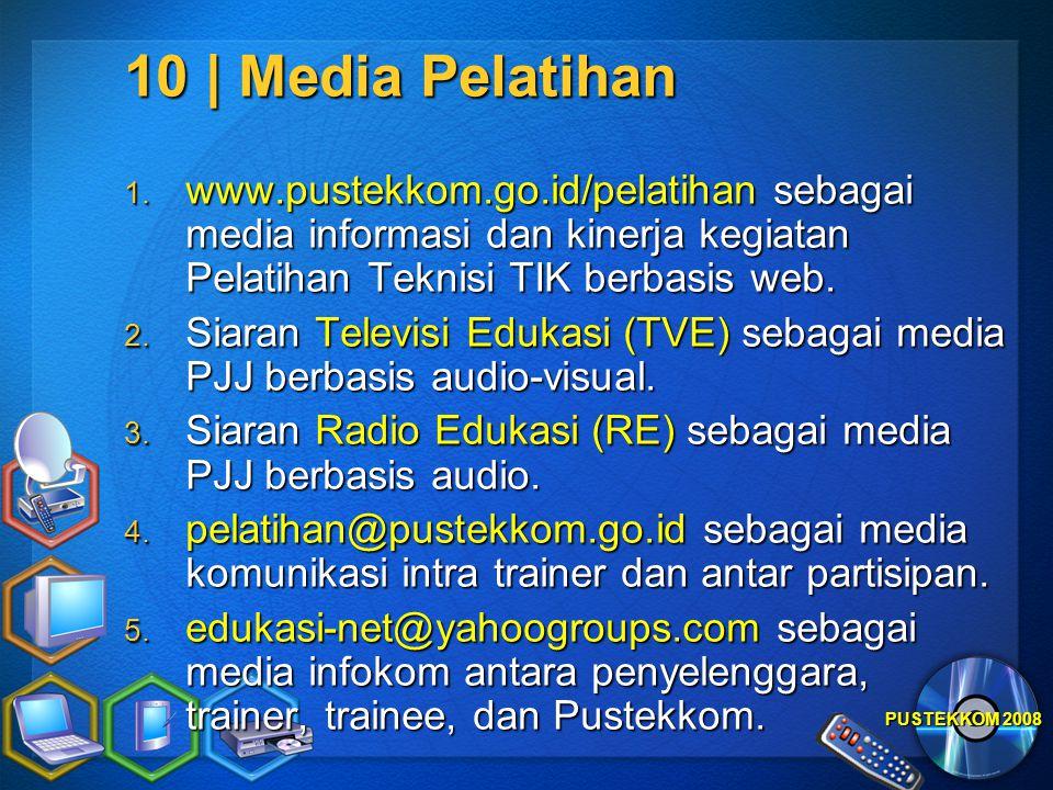 10 | Media Pelatihan www.pustekkom.go.id/pelatihan sebagai media informasi dan kinerja kegiatan Pelatihan Teknisi TIK berbasis web.