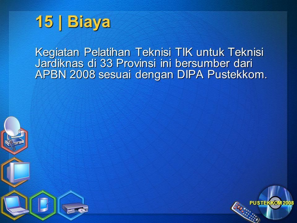 15 | Biaya Kegiatan Pelatihan Teknisi TIK untuk Teknisi Jardiknas di 33 Provinsi ini bersumber dari APBN 2008 sesuai dengan DIPA Pustekkom.