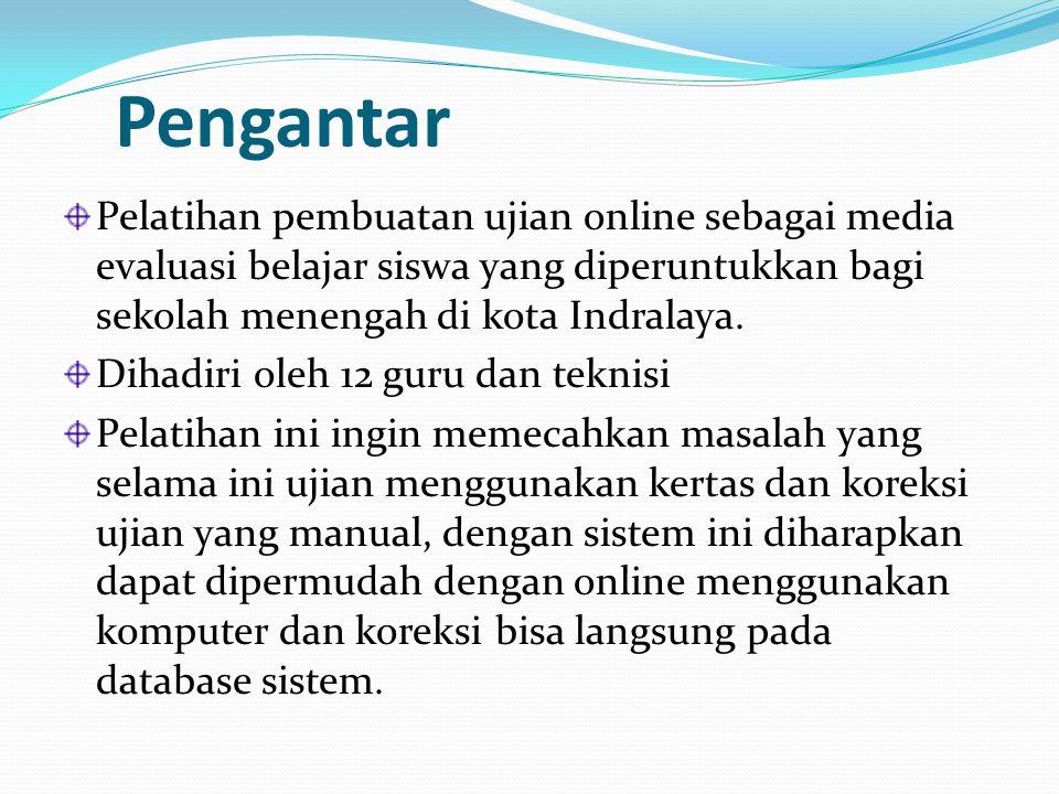 Pengantar Pelatihan pembuatan ujian online sebagai media evaluasi belajar siswa yang diperuntukkan bagi sekolah menengah di kota Indralaya.