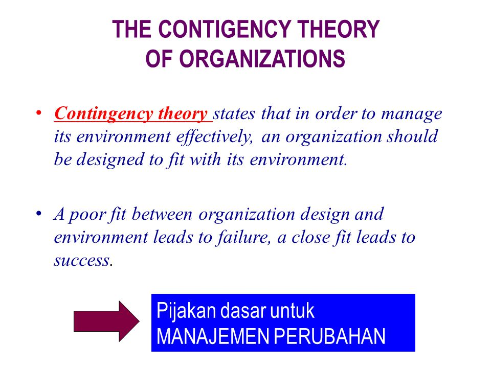 THE CONTIGENCY THEORY OF ORGANIZATIONS
