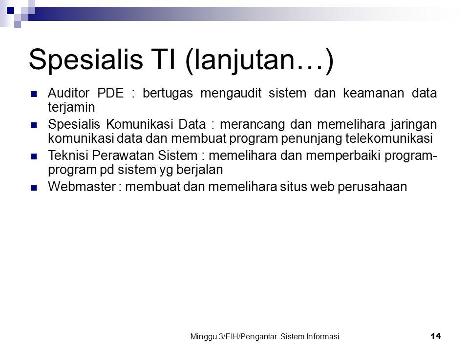 Spesialis TI (lanjutan…)