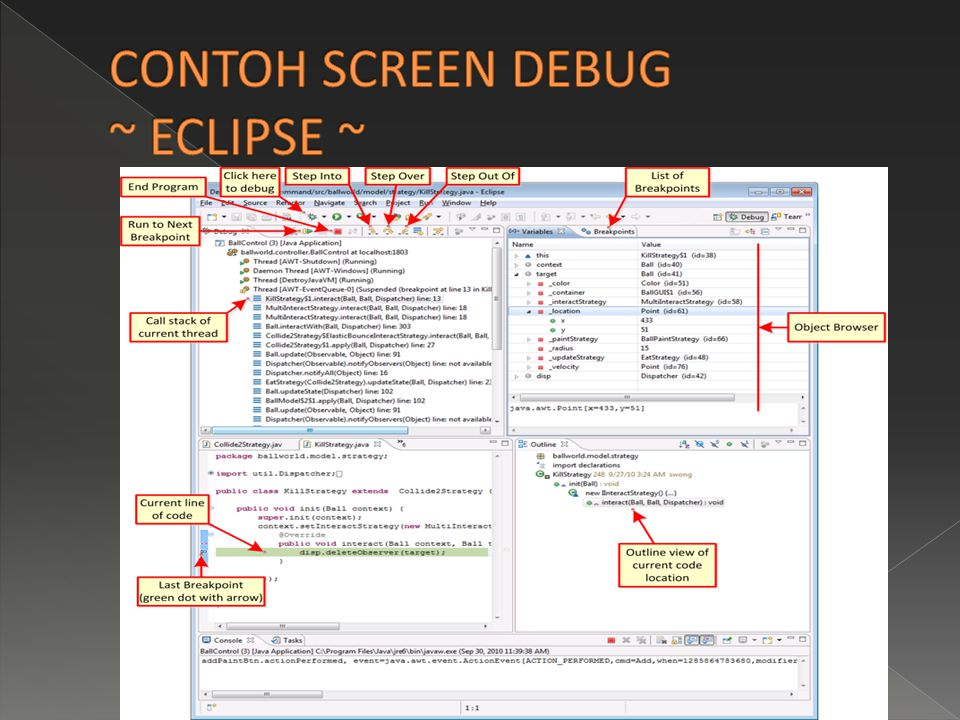 CONTOH SCREEN DEBUG ~ ECLIPSE ~